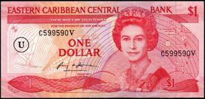 EAST CARIBBEAN ANGUILLA 1 $ 1988 P-17u Sign.1 *perfect banknote* UNC low start