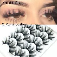 5Pairs 3D Faux Mink Hair False Eyelashes Fluffy Thick Natural Long Lashes Tool A