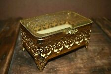 Vintage Gold tone and Glass Jewelry Case