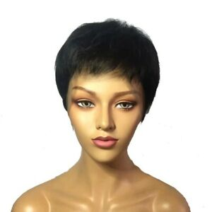 Women's Black Wig Short Straight Synthetic Hair w/Lace Natural Fashion Looking