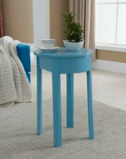 King Brand Furniture Turquoise Blue Finish Wood End Table With Drawer