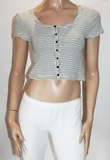 Ally Brand Black White Stripe Button Front Crop Top Size M BNWT #SC18