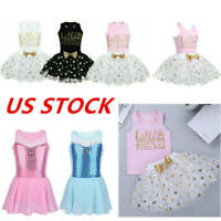 US Baby Girls Birthday Dress Princess Outfits Ballet Dance Sequined Tutu Skirts