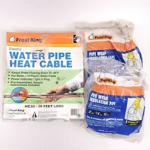 Frost King Electric Water Pipe Heat Cable Kit HC30 + Pipe Wrap Insulation Tape