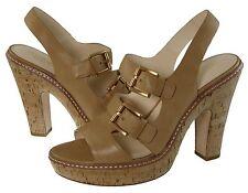Coach Womens Katee Light Tan Cork Platform Buckle Ankle Strap Heels Sandals