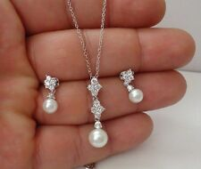 DANGLING PENDANT & EARRING SET W/ PEARLS & ACCENTS /925 STERLING SILVER