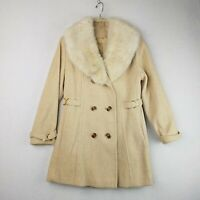 Vintage Union Made Wool Car Coat Faux Fur Trimmed Collar Womens Small XS Gold