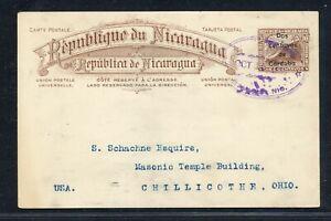Nicaragua Postal History: LOT #24 1914 2c/10c Waterlow PC MANAGUA - CHILLICOTHE