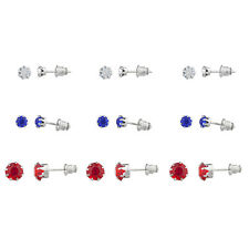 Lux Accessories Silver Tone 4th of July Solitaire Stud Multi Earring Pack 9PCS