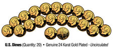 UNCIRCULATED 24K GOLD PLATED U.S.MINT DIMES (Lot of 20)