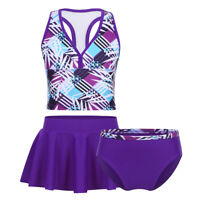 3PCS Kids Girls Tankini Printed Swimsuit Swimwear Bathing Suit Tops+Shorts+Skirt