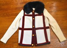 Tory Burch Windsor Windowpane Plaid Wool Fur Sweater Coat Cardigan US 4 6  SMALL