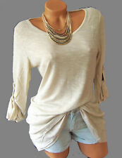 Longshirt Tunika T-Shirt mit Leinen, Gr. 36/38 kieselgrau 963801 Neuware