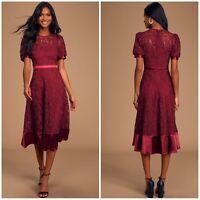 NWT Lulus Size Small Endless Perfection Wine Crochet Lace Midi Dress
