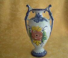 Vintage Porcelain Hand Painted 2 Handled Vase ~Blue W Floral Made in Portugal