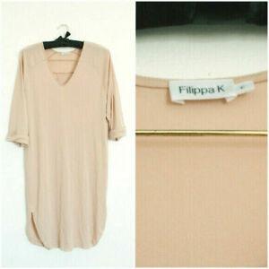 Filippa K Beige Tunika-Kleid mit V-Ausschnitt, XS