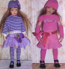"Pattern fits 16"" Kish & 17"" Hopscotch Hill  Dolls Top 2 skirts hat armlets socks"