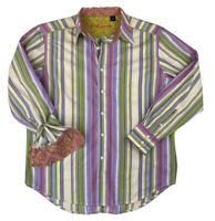 Robert Graham Purple Striped Button Up Shirt, Sz Large, Textured Flip Cuffs