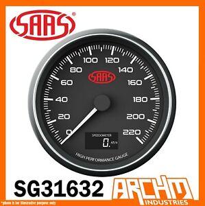 """SAAS Speedometer 0-220 kph Shift lite 3 1/2"""" 90mm In Dash Black Muscle SG31632"""