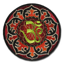 OM AUM AOM Goa Psychedelic Hindu Symbole Hippie Aufnäher Aufbügler Patch Sticker