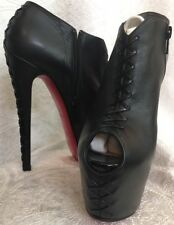 Louboutin Bootie Black Double Platform Lace Up  Heel And Front Zip Side Size 37