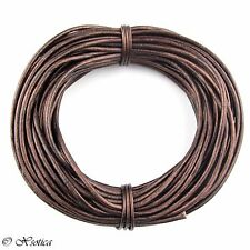 Brown Metallic Round Leather Cord 3mm 25 meters (27 yards)