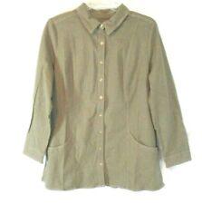 New Denim & Co. Denim Tunic Shirt Olive Green Sz XL Long Sleeve Button Women XZ9