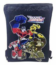 Transformers Black Drawstring backpack School Sport Gym Tote Bags
