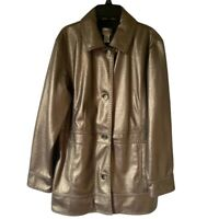 Chicos Womens Jacket Gold Button Lined Collared Faux Leather Coating Large New