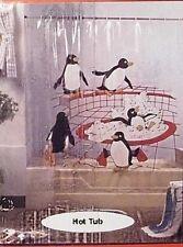 Penguins in a Hot Tub Shower Curtain Cute Vinyl clear white black red NISP