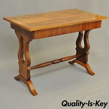 Antique Empire Regency Console Table Desk Flame Mahogany Burl Inlaid One Drawer