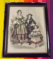 Antique cadre noir XIX ème chapeau coiffe Bohémienne corbeille de fleurs