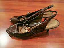 Predictions Patent Leather Slingback Heels Women's Open Toe Shoes Brown Size 8