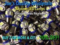 (4)BAYONET BLUE LED-6.3V AC-LAMP/KR-7600 4400 10000 9060 6050/KT-4005/ Kenwood