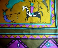 Boma Brand Neck Scarf Designer Jocelyne Mange 31x31 North American Indian Theme