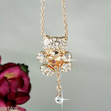 N6 18K Rose Oro Placcato Orsacchiotto Cuore Collana Con Pendente Cristallo