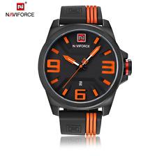 Naviforce 9098 Men Fashion Casual Sport 3D Face Quartz Date Rubber Clock Watch