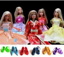 Free Ship Lot 5 Pcs Barbie Dresses Clothes & 6 Pairs of Shoes Gown For Dolls B08