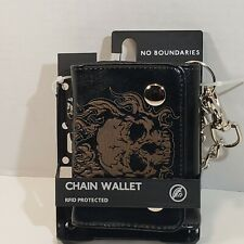 No Boundaries Genuine Leather Black RFID Protected Skull Chain Wallet