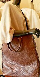 Gucci Unisex Bag STRUZZO Ostrich Leather Brass CAT Crossbody Messenger Size XL