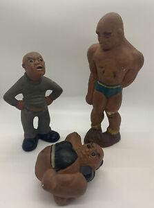3 Lafayette RITTGERS Wrestlers & Referee Chalk Figures | Vintage 1941