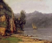 Vue du Lac Leman Gustave Courbet Landscape Painting Print Canvas Giclee Art 8x10
