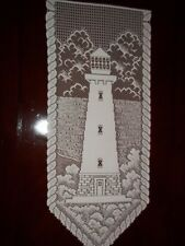 LACE WALL HANGING WHITE LIGHTHOUSE DESIGN 30 X 12 WWHL52