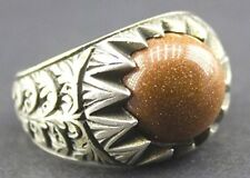 Sterling silver men ring handmade, goldstone natural gemstone, steel pen craft