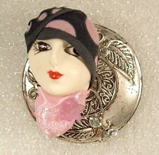 LADY HEAD doll FACE Porcelain-Look Resin Brooch Pin Figural Flapper RS Pink OOAK