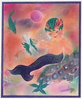 MERMAID MERMAN BOY CHILD HAND COLORED STARFISH DRAGONFLY FISH PURPLE ART PRINT