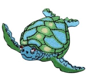 "Sea Turtle Applique Patch - Ocean, Sea Creature Badge 2-5/8"" (Iron on)"