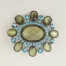 New Olive Green Aqua Blue Oval Flower Good Fortune Crystals Brooch Pin BR1361
