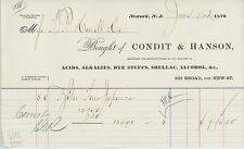 1870 Condit & Hanson Billhead Newark NJ Acids Alkalies Shellac Alcohol Dye