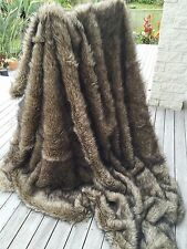 Brown Faux Wolf / Coytoe Fur Throw Fake Fur Throw Blanket Double Size LX1018D